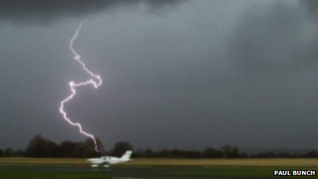 Lightning at Halfpenny Green airport