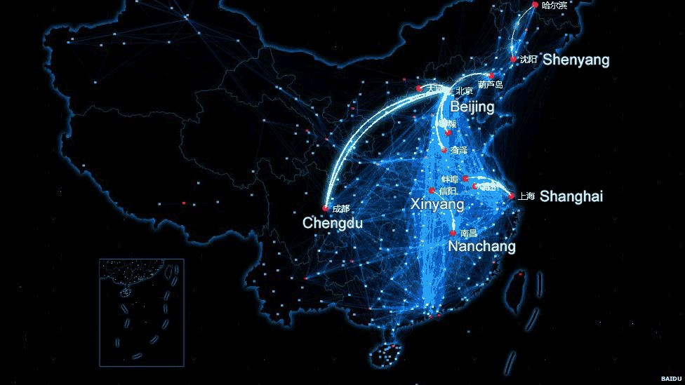 Baidu map of people leaving the cities for Chinese New Year