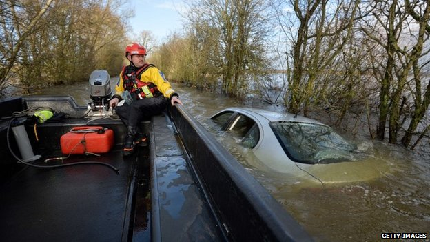 Submerged car in Somerset