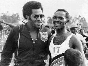 Kip Keino with USA 400m runner Lee Evans, Mexico 1968