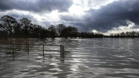 Flooding near Muchelney in Somerset