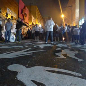 242 bodies were painted in front of the nightclub