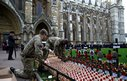 soldiers placing Crosses of Remembrance in the ground at Westminster Abbey in London in 2013