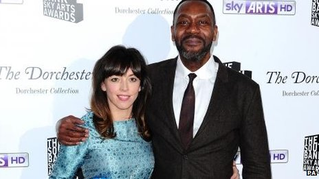 Bridget Christie wins the comedy award, presented by Lenny Henry, at the South Bank Sky Arts Awards