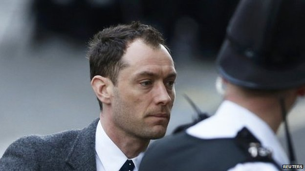 Actor Jude Law arrives at the Old Bailey