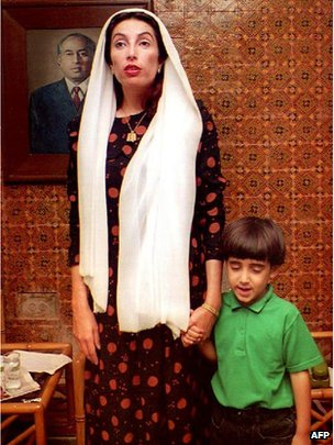 File photo of Bilawal and his mother, Benazir Bhutto, in 1993