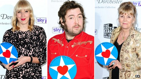 Winners Katie Paterson, Nick Helm and Kate Atkinson at South Bank Show awards