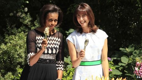 Samantha Cameron and Michelle Obama during the latter's visit to the UK in 2011