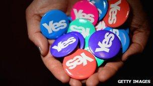 Yes Scotland badges