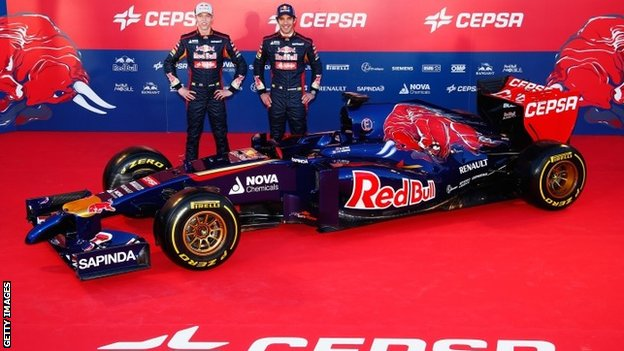 Toro Rosso drivers Daniil Kvyat (left) and Jean-Eric Vergne launch new Toro Rosso F1 car