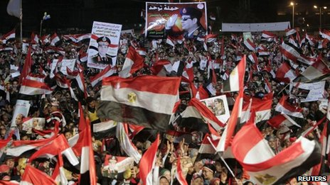 Supporters of Abdul Fattah al-Sisi at a rally in Tahrir Square (25 January 2014)