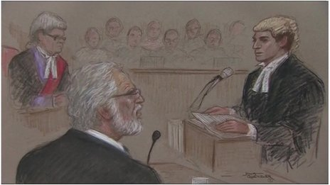 Court sketch of Dave Lee Travis (27/1/14)