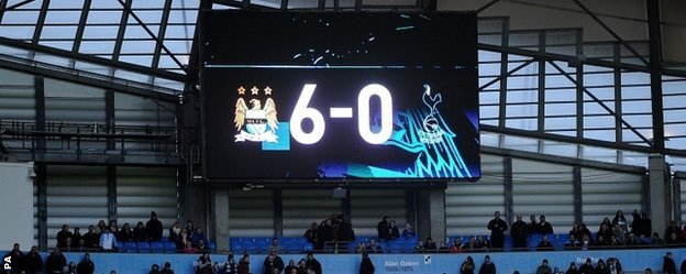 Manchester City thrashed Tottenham 6-0 at Etihad Stadium in November