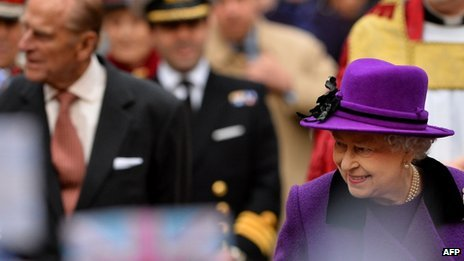 The Queen and Prince Philip arriving for a visit to Southwark Cathedral in London