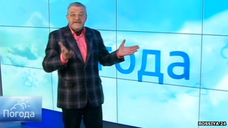 Vadim Zavodchenkov reads the weather forecast on Russian TV