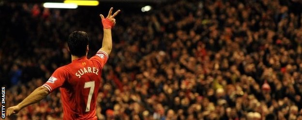 Luis Suarez celebrates scoring against Hull at Anfield