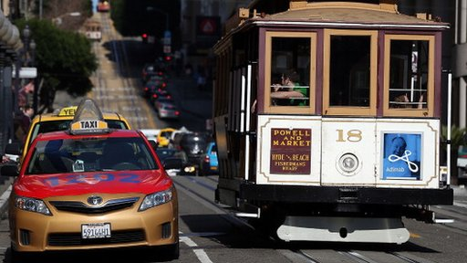 A cab and cable car in San Francisco