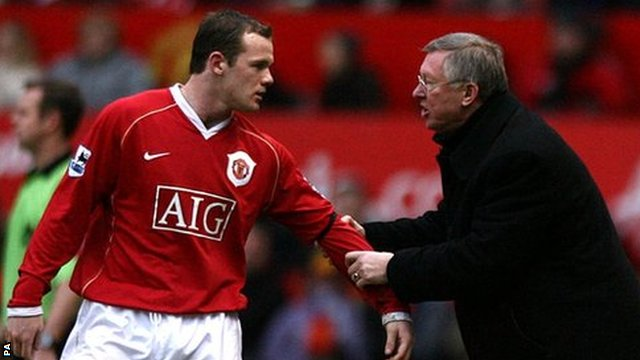 Manchester Unied striker Wayne Rooney and former manager Sir Alex Ferguson