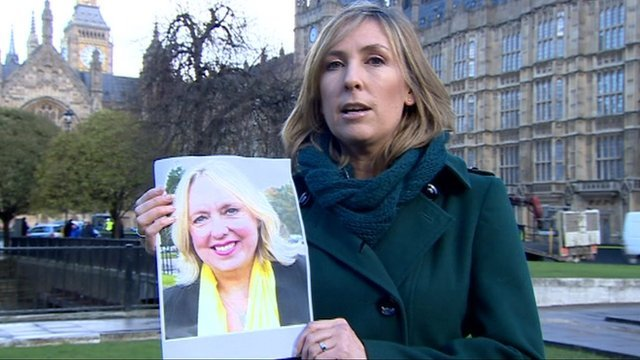 Political correspondent Vicki Young with picture of Lib Dem candidate Lorely Burt