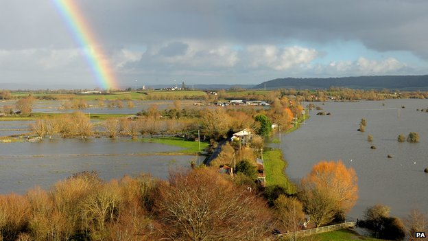 A rainbow over flood water which covers part of the Somerset Levels