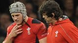 Jonathan Davies is helped off the field after being injured against South Africa
