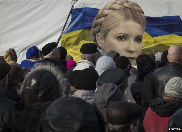 Protesters with an image of Yulia Tymoshenko in Kiev, 7 January