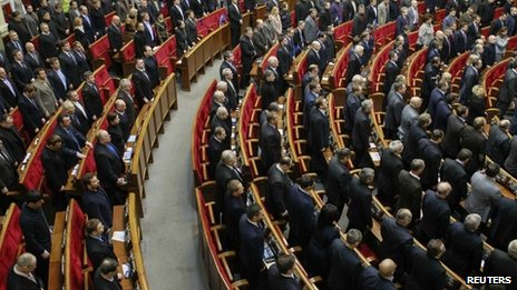 Ukrainian session of parliament in Kiev, 28 January 2014