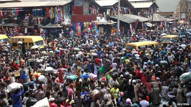 Balogun market in central Lagos, Nigeria - 23 December 2013