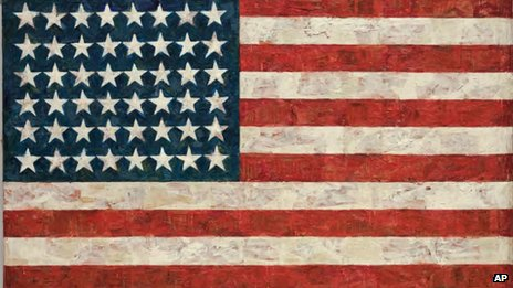 "a photo showing the iconic 1960 ""Flag"" painting by contemporary artist Jasper Johns"