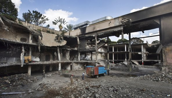 Workers remove rubble from the damaged Westgate Mall in Nairobi