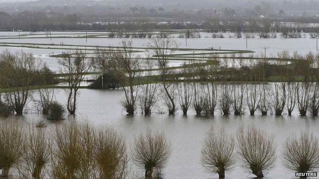 Flooded Somerset Levels, Jan 2014
