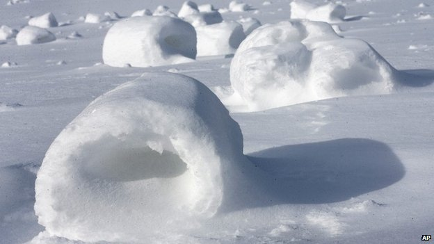 Snow rollers dot a field near Oil City, Pennsylvania, on 27 January 2014