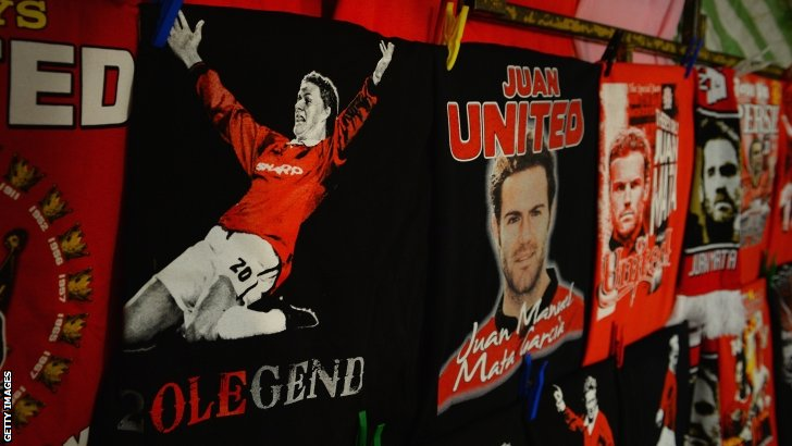 T-shirts for sale outside Old Trafford
