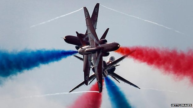 The Red Arrows perform the Gypo Split during their first public aerobatic display since the death of Flt Lt Jon Egging