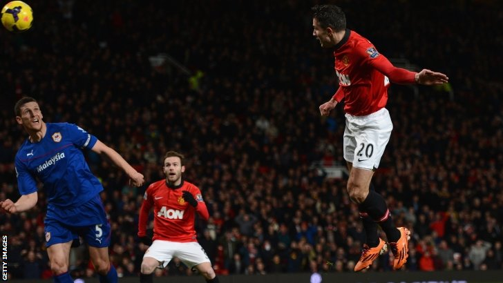 Robin van Persie (right) scores for Manchester United
