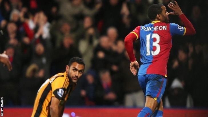 Jason Puncheon celebrates scoring for Crystal Palace
