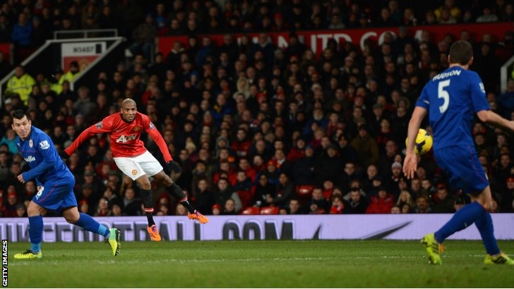 Ashley Youngs (second left) scores for Manchester United