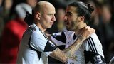 Swansea goal-scorers Jonjo Shelvey and Chico Flores