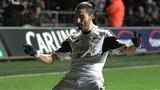 Swansea City's Chico celebrates scoring his side's second goal
