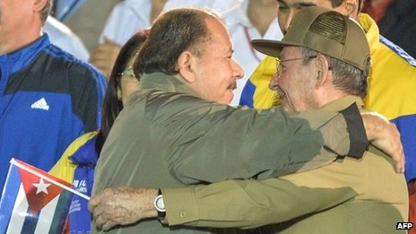 Ortega (left) and Raul Castro (right)