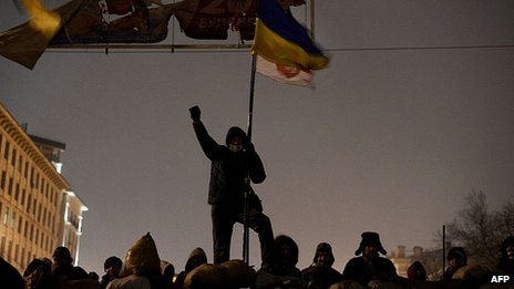 Protester on barricade in Kiev. 28 Jan 2014