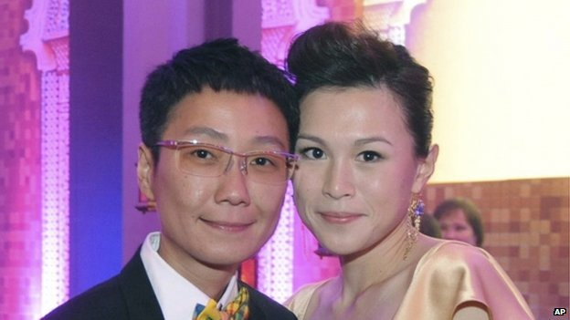 File photo: Gigi Chao, right, daughter of the Hong Kong property tycoon Cecil Chao, poses with her partner Sean Eav at an event in Hong Kong