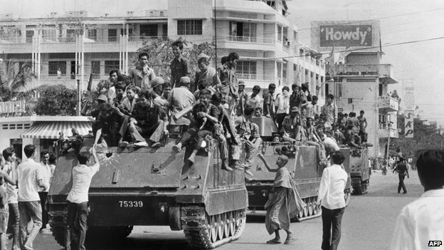 File photo: Young Khmer Rouge guerrilla soldiers atop armoured vehicles enter Phnom Penh, 17 April 1975