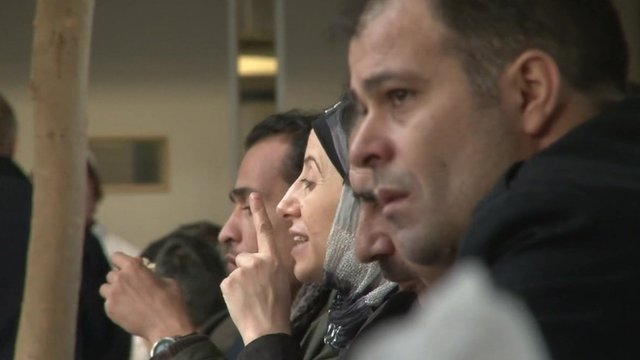 Syrian refugees in German reception centre