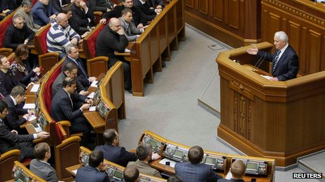 Leonid Kravchuk in Ukraine's parliament on 29 January 2014