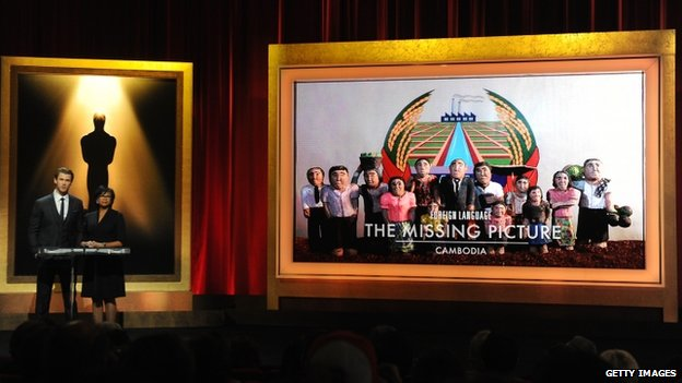 Chris Hemsworth and Academy President Cheryl Boone Isaacs announce The Missing Picture from Cambodia as a nominee for Best Foreign Language Film at the 86th Academy Awards Nominations Announcement at the AMPAS Samuel Goldwyn Theater on 16 January 2014 in Beverly Hills, California