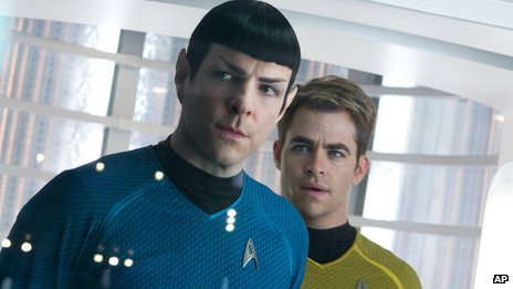 Zachary Quinto, left, as Spock and Chris Pine as Kirk in a scene in the movie, Star Trek Into Darkness