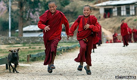 Novice monks in Bhutan