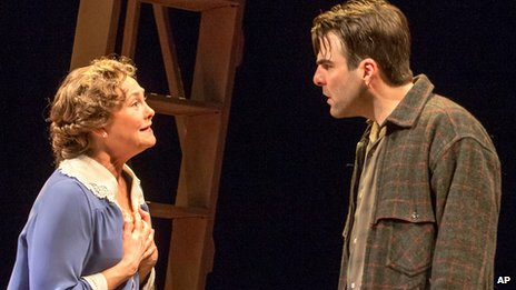 Cherry Jones and Zachary Quinto during a performance of The Glass Menagerie