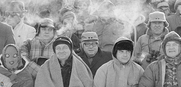 Fans struggle to keep warm during the original Ice Bowl